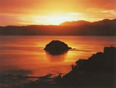 Sunrise of Mahena Island at Koutu Point Hokianga